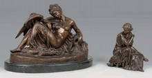 François MAGE Femme à l'antique bronze de dessus de pendule à patine brune (usures à la patine), vers l'arrière : Mage, Ht. : 23,5...