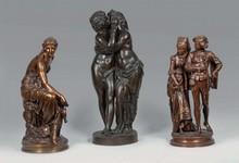 Adrien GAUDEZ Gentilhomme et sa dame groupe en bronze à deux patines brune et dorée (traces de griffes et légères usures) sur un s...