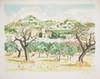 Yves BRAYER Mas et oliviers aux Baux lithographie en couleurs, EA 18/25 (légère insolation), signée en bas à droite, 48 x 65 cm....