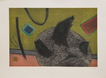 d'après Henri GOETZ Composition eau-forte en couleurs, en bas à droite : Goetz, en bas à gauche : 59/60, 56 x 76 cm.