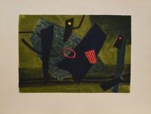 d'après Henri GOETZ Composition fond vert eau-forte en couleurs, en bas à droite : Goetz, en bas à gauche : 51/120, 50 x 66 cm....