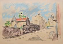 Charles CAMOIN Rue à Paris lithographie en couleurs, n° 33/40, signée en bas à gauche, 24 x 37,5 cm.