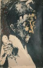 Bernard LORJOU Homme et oiseau lithographie en couleurs, n° 19/75, non signée, 99 x 63 cm.
