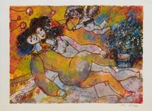 d'après Théo TOBIASSE Daphnis regardait Chloé et la douceur de sa peau se dérobait sous ses doigts lithographie en couleurs, en ba...