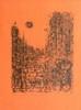 Jean CARZOU Amants, heureux Amants, 1973 lithographie en noir sur papier orange, n° 37/214, signée et datée en bas à droite, titré...