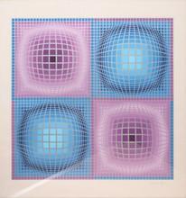 Victor VASARELY Composition mauve et bleue sérigraphie en couleurs n° FV 22/25 (trace de griffe), signée en bas à droite, 65 x 65 ...