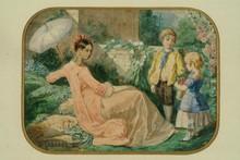 Entourage d'Alexandre CABANEL Femme à l'ombrelle et enfants aquarelle sur feuille aux angles arrondis (partiellement vernie), sign...