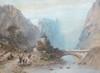 Eugène CICERI Pont et auberge en montagne, 1854 aquarelle gouachée (petites rousseurs), signée et datée en bas à droite peu lisibl...