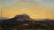 Eugène Napoléon FLANDIN Paysage aux ruines, 1859 huile sur panneau, signé et daté en bas à gauche, 15,5 x 28 cm.