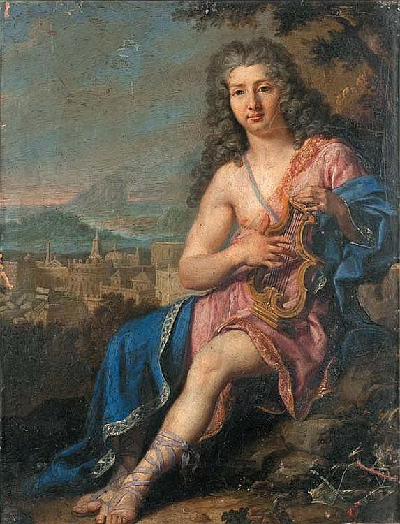 SCHUPPEN Jacob van (Fontainebleau 1670 - Vienne 1751) Portrait of a man depicting Apollon. Oil on copper (small chips and scratches). Signed down right on a stone : Van Schuppen pinxit. H. : 35 - L. : 26,8 cm.
