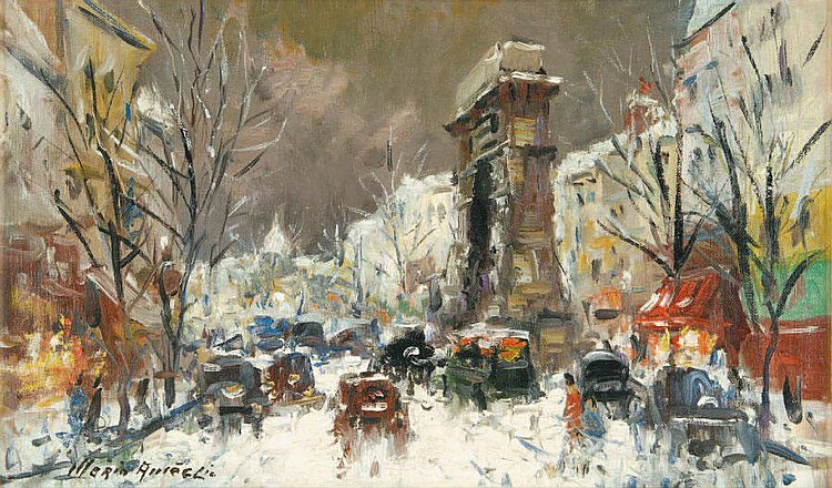 Paris, scene Saint Denis Boulevard 1960 by Merio Ameglio. Oil on canvas, signed on the lower left. Titled and dated on the reverse.
