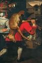 SNYDERS Frans (école de) (Anvers 1579 -1657)  Le départ pour le marché  Huile sur toile.  (rentoilage ; quelques restaurations).  Haut. : 172 - Larg. : 113 cm.  Voir la reproduction ci-dessus.