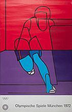 ADAMI Valerio 1935-   Affiche pour le J.O de Munich en 1972 - 100 x 64 cm