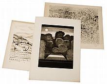 André DUNOYER DE SEGONZAC, FRANCONY, André COTTAVOZ    Lot de 1 gravure et 2 lithographies