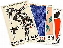 Alexandre CALDER, Max ERNST, Wilfredo LAM, René MAGRITTE    Lot de 4 affiches.