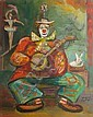 Jean TOTH  Clown with a white rabbit  Oil on panel, signed bottom right, title on the back.  30x 24 cm., Jean Toth, Click for value