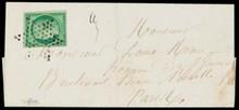 émission Cérès non dentelée n°2, 15 centimes vert sur lettre obl étoile (obl légère) au verso c.à.d de paris.