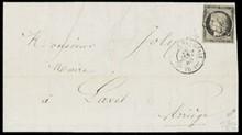 émission Cérès non dentelée n°3, 20 centimes gris noir sur lettre obl grille+c.à.d