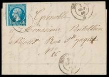 N°14a 20ct bleu type Empire Non Dentelé avec de belles marges sur lettre avec texte pour Grenoble; oblitération c.à.d SARDE