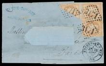 émission EMPIRE laurée n°28B, 10 centimes bistre, 2 ex. +une moitié coupée diagonalement d'un troisième sur lettre (adresse découpée) obl G.C+C.À.D de Rochefort-sur-mer (28/09/71). Affranchissement de fortune du changement