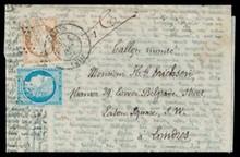 BALLON MONTé AGENCE HAVAS - éDITION FRANçAISE POUR L'ANGLETERRE n°36 10ct bistre+n°37 20ct bleu type Siège de Paris oblitérés étoile+c.à.d