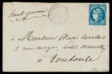 émission BORDEAUX n°46B, 20 centimes bleu très foncé sur enveloppe ob P.C