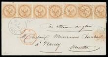 COLONIES GéNéRALES n°3, 10 centimes bistre jaune, 1 bande de 4 (sup)+3 exemplaires (2pd) sur lettre pour Nancy obl losange+c.à.d