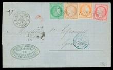 MARTINIQUE. Colonies Générales (n°13,17,21 et 22) 40 centimes orange (PD+5 centimes vert+80 centimes rose+15 centimes bistre sur lettre pour Granville, obl