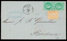 GUYANE. Colonies Générales n°17, 5 centimes vert en paire et n°13, 40 centimes orange sur lettre pour Bordeaux obl ancre +c.à.d