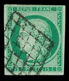 émission Cérès. Non dentelé n°2, 15 centimes vert vif, belle nuance, obl grille.  TB.