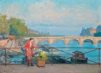 GILBERT Victor, 1847-1935 La marchande de fleurs à la passerelle des Arts gouache (traces d'humidité), signée en bas à gauche. 25,5 x 34,5 cm.