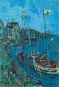 AIZPIRI Paul, né en 1919 Voiliers pavoisés au port huile sur toile (très importantes restau¬rations), signée en bas à droite. 55 x 37,5 cm.  Nous remercions M. Morita de nous avoir confirmé l'authenticité de cette oeuvre.
