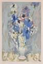 BABOULENE Eugène, 1905 -1994 Bouquet au vase blanc lithographie en couleurs sur Rives (traces d'insolation), n° 41 / 60, signée en bas à droite.  59 x 38,5 cm.