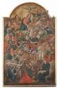 école FRANçAISE du XVIIIe siècle Dieu le Père bénissant la Vierge entourée de Saintes et de Saints Huile sur toile ceintrée dans la partie supérieure. (rentoilage; quelques restaurations). Haut. : 67,5 - Larg. : 42 cm. Voir la reproduction ci-dessus.