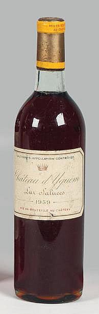 1 bouteille CH. D'YQUEM, 1° cru supérieur Sauternes  1959  (es, TLB)
