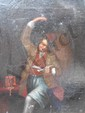 école HOLLANDAISE du XVIIIe siècle Homme à la pipe levant son verre Huile sur toile. (rentoilage). Monogrammé ou annoté en rouge, en bas à gauche : W. B. (petite griffure). Haut. : 30 - Larg. : 23,5 cm.