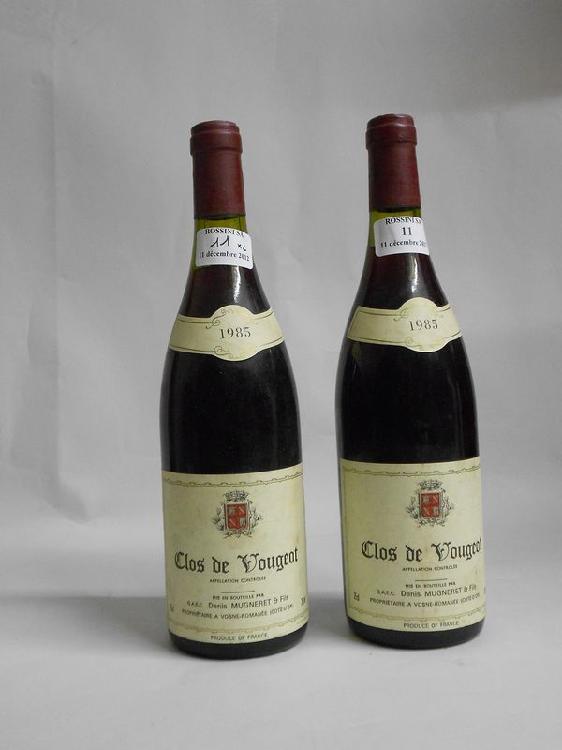 2 bouteilles  CLOS VOUGEOT, D. Mugneret  1985  (1 LB)