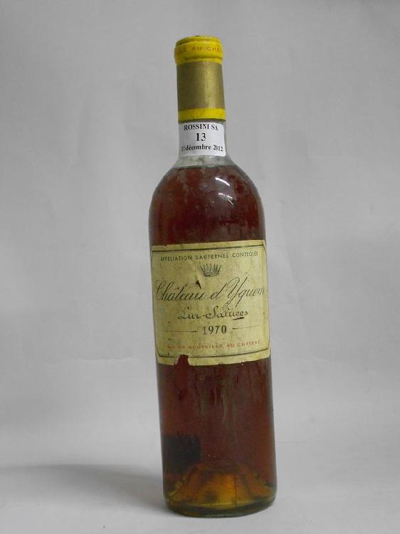 1 bouteille CH. D'YQUEM, 1° cru supérieur Sauternes  1970  (ets, LB)