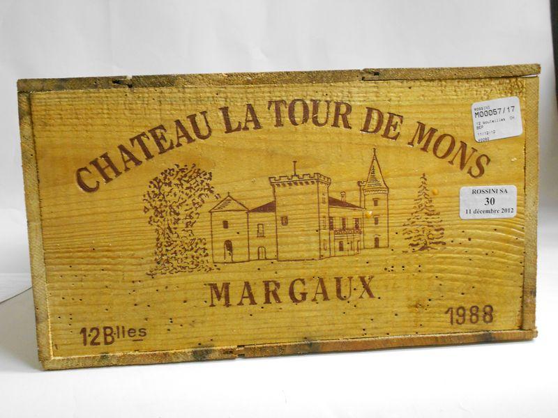 12 bouteilles CH. LA TOUR DE MONS, Margaux  1988  cb