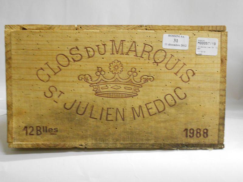 12 bouteilles CLOS DU MARQUIS, Saint-Julien  1988  cb