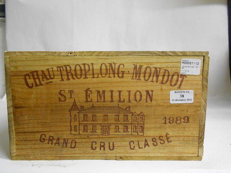 12 bouteilles CH.  TROPLONG-MONDOT, Grand Cru St-Emilion   1989   cb