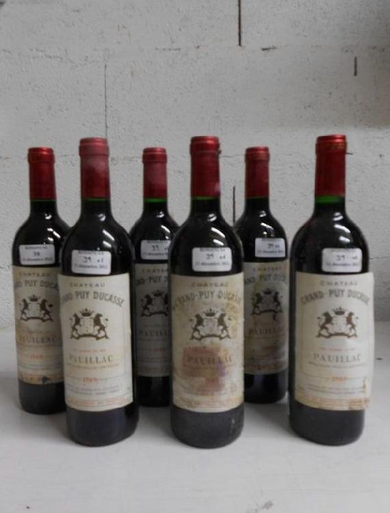 6 bouteilles  CH. GRAND PUY-DUCASSE, 5° cru Pauillac  1989  (cb de 12)