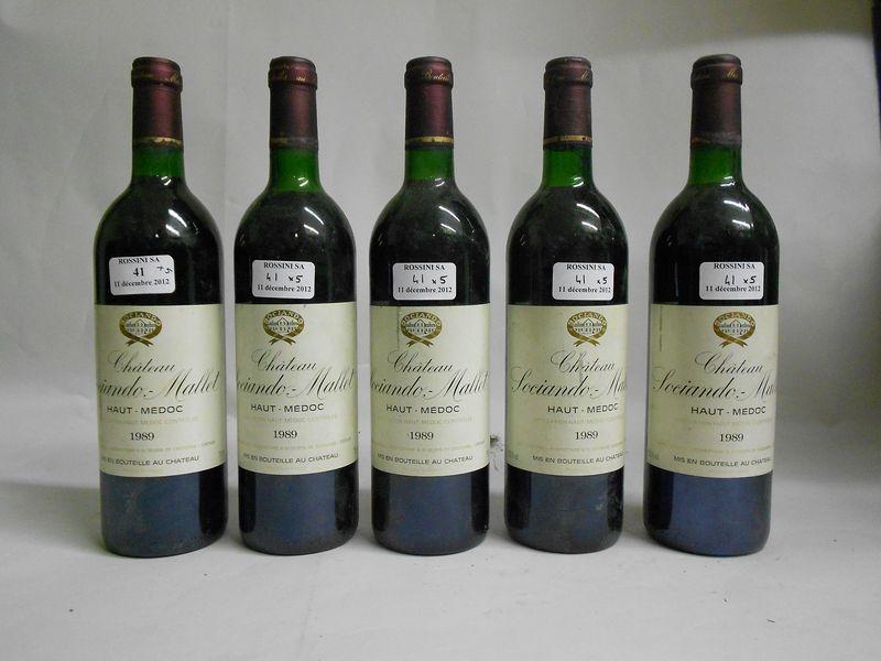 5 bouteilles  CH. SOCIANDO-MALLET, Haut-Médoc   1989