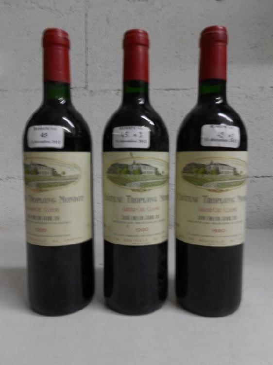 3 bouteilles CH. TROPLONG-MONDOT, Grand Cru St-Emilion  1990