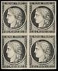 N°3, bloc de quatre, charnière sur deux timbres TB, et très frais.   (cote 2 850 €).