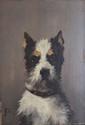 Jules CHARDIGNY  Le terrier  huile sur panneau (petits manques), monogramme en bas à gauche, contresigné au dos,  33 x 23,5 cm.