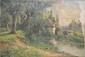 Pierre Ernest BALLUE   Le moulin de Remerle, Angle sur l'Anglin, septembre 1895  huile sur toile (manques, accidents et craquelures), signée et datée en bas à droite avec envoi, signée, située et datée au dos du châssis,  50 x 73 cm.
