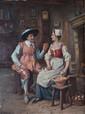 Gaston BONFILS   Le galant à l'office  huile sur panneau (petites griffures), signé en bas à gauche,  35 x 27 cm.
