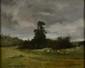 Alfred MOUILLON   Les labours, 1867  huile sur toile (restaurations), signée et datée en bas à droite,  32 x 41 cm.