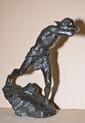 CARLI  Caïn, 1893  bronze à patine noire nuancée de vert, sur la terrasse : CARLI 1893 et le cachet de fondeur peu lisible BIAGUERI CIRE PERDUE PARIS ( ?)  Ht. : 40,5 - Lg. : 38 cm.